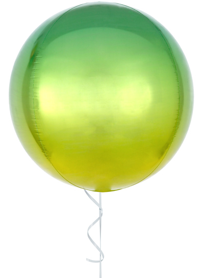Globo con helio orbz amarillo & verde