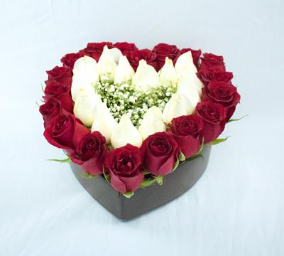 Corazón grande con rosas