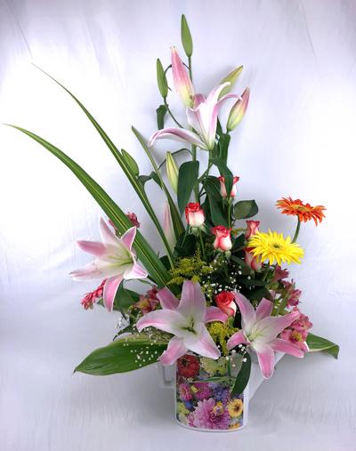 Cafetera plana estampada con flores orientales con gerberas y rosas
