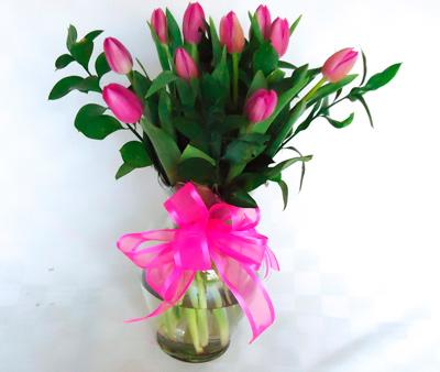 Base transparente de tulipanes