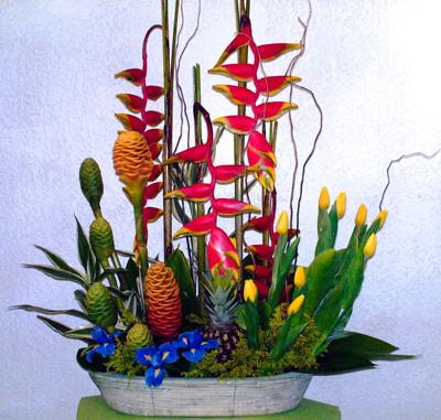 Arreglo floral exótico oriental con rasgos orientales
