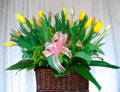 Canasta con tulipanes de colores