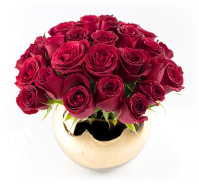 Esfera dorada con rosas
