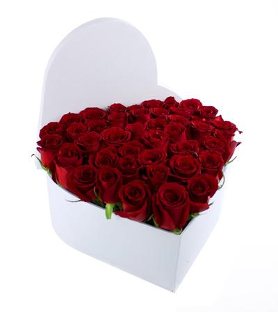 Corazón Grande Rosas Rojas