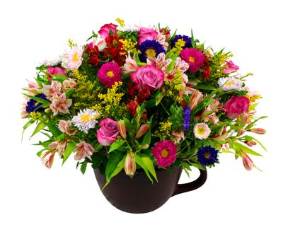 Arreglo floral  en taza de cerámica