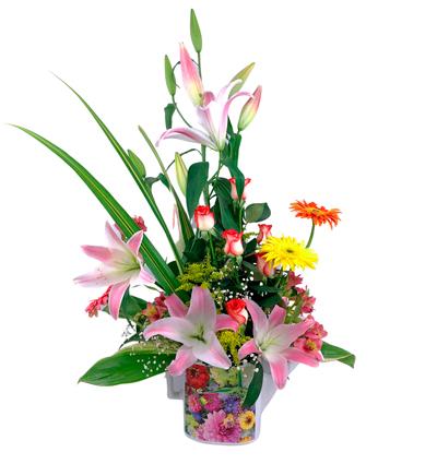 Cafetera estampada con flores orientales con gerberas y rosas