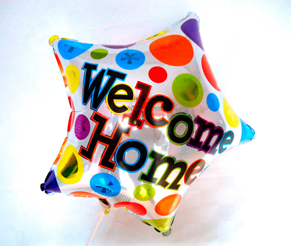 Globo metalico bienvenido a casa
