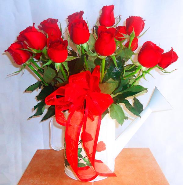 Regadera aluminio con rosas rojas