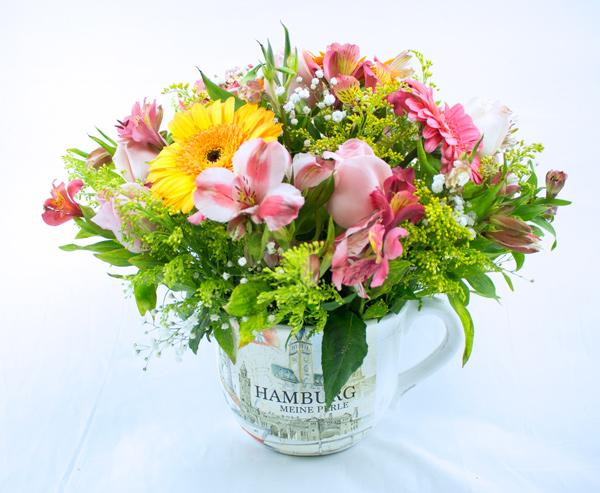 Taza de ceramica primavera multicolor