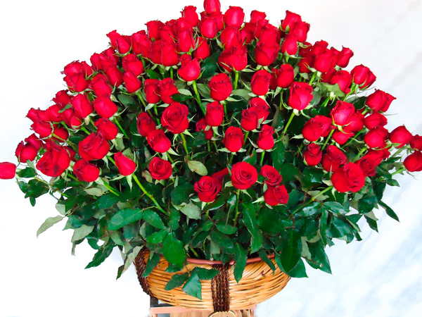 Canasta de rosas rojas