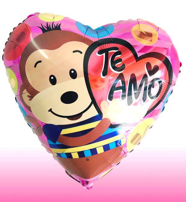 Globo te amo y changuito con helio