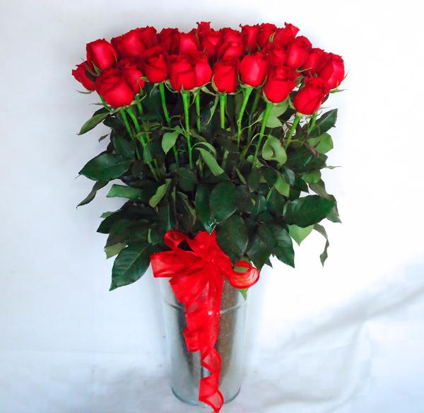 Rosas rojas en base alta de aluminio
