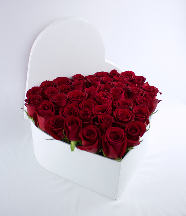 Corazon grande rosas rojas