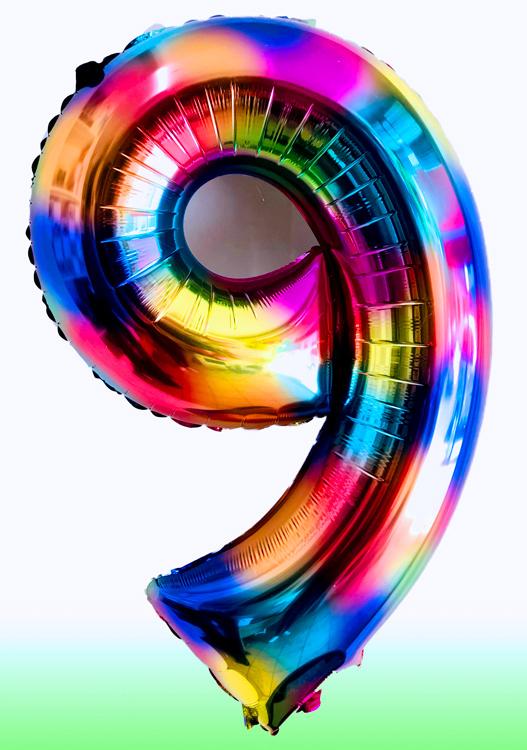 Globo arcoíris numero con helio (2 piezas)