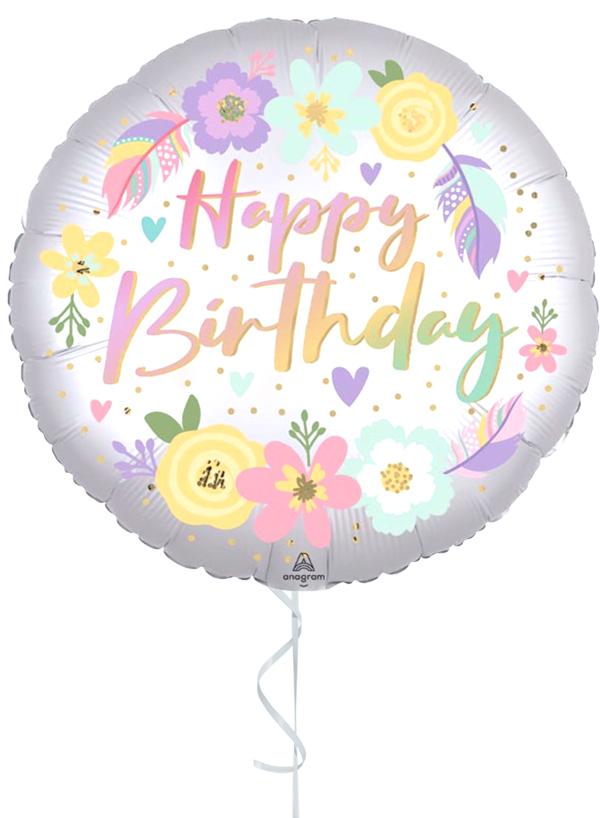 GLOBO CON HELIO HAPPY BIRTHDAY SATIN LUXE