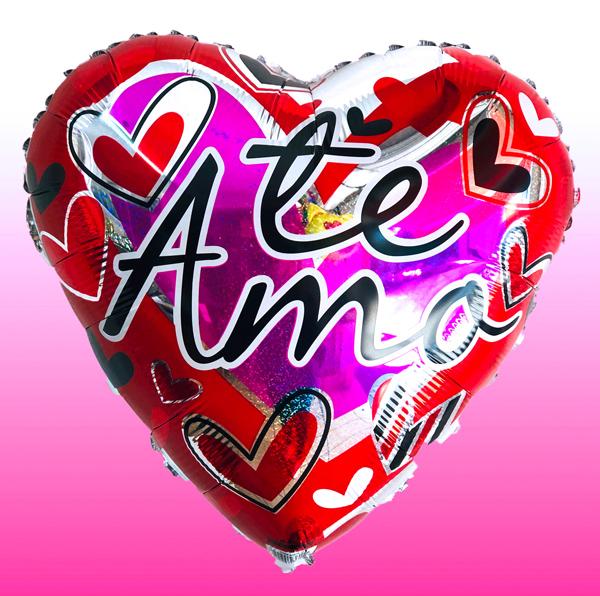 Globo te amo en corazon, con helio