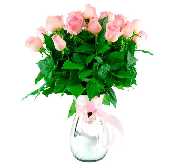Jarrón de vidrio con rosas caricia